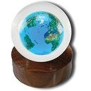 Desktop Paperweight Sphere, Crystal Earth, Natural Continents, Flat Base, Lucite, 4 Inch Diameter  Desktop Paperweight Sphere,
