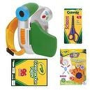 Crayola Digital Camcorder in Green + Crayola Construction Paper 9x12 96-Sheets + Crayola Blunt Tip Scissors + Crayola Fingerpai