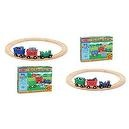 3 Item Bundle: Melissa & Doug 644/643 Farm & Jungle Animal Train Sets + Free Gift - Fits Thomas Train Tracks