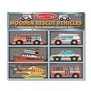 2 Item Bundle: Melissa & Doug 684 Deluxe Wooden Rescue Vehicles Set + Free Gift - Fits Thomas Train Tracks