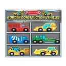 2 Item Bundle: Melissa & Doug 681 Deluxe Wooden Construction Vehicles Set + Free Gift - Fits Thomas Train Tracks
