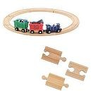 Melissa and Doug Farm Animal Train Set Plus 18 Piece Additional Track Set