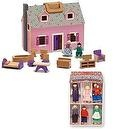 Melissa & Doug Fold and Go Mini Dollhouse and 6 Piece Wooden Family Doll Set