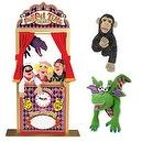 Melissa & Doug Deluxe Puppet Theater Bundle with Dragon, and Bannanas the Chimp Puppets