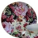 English Rose Pattern Fine China Cup Cake Plates for Childrens Tea Parties