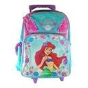 Full Size Pink and Turquoise Ariel Rolling Backpack - Little Mermaid Luggage with Wheels