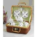 Porcelain Tea Set for Two/ Basket Green Bumble Bee