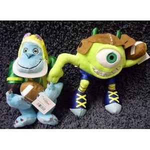Retired Disney Monsters. Inc Pair of Football Super Stars 7 Inch Plush Mike Wazowski and Sulley Football Player Doll with Helme
