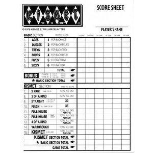 Kismet Dice Game Replacement Scorepads