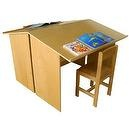 A+ChildSupply Double-sided Drawing/Reading Desk with 2 Chairs