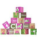 Elegant Baby Spelling Blocks, Pink/Green  Elegant Baby Spelling Blocks
