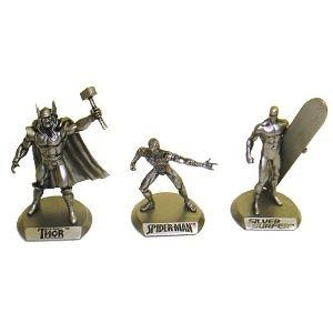 2010 San Diego Comic Con Exclusive 3 Pack Sets Marvel Bronze Figures - Series #1 Thor, Spider-man and Silver Surfer