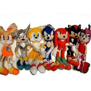 Sega Sonic The Hedgehog X Shadow Amy Knuckles Tails Cream And Silver 7 Large Plush Doll Stuffed Toy 15 Inches
