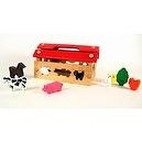 Wooden Animal House With Removable Farm Animal Pieces