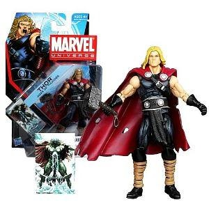 Hasbro Year 2011 Marvel Universe Series 4 Single Pack 4 Inch Tall Action Figure #1 - Ages of Thunder THOR with Mjolnir Hammer a