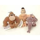 "Retired Disney George of the Jungle Doll Set with 8"" George Tarzan Doll, 8"" Shep Elephant Doll, and 8"" Ape Plush Bean Bag Dolls"