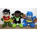 "Justice League Warner Brothers DC Comic Super Hero Set with Baby Batman, Robin, and Green Lantern 10"" Plush Dolls Mint with Tag"