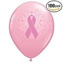 "Breast Cancer Awareness Latex Balloons 11"" Pink Ribbon  Breast Cancer Awareness Pink Ribbon Latex Balloons by Qualatex"