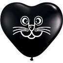 "Qualatex Black 6"" Cat Face Heart Shaped Latex Balloons  Qualatex 6"" Cat Face Heart Shaped Latex Balloons"