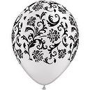 "Pearl White Black Print Damask Latex Balloons Party Supplies  Qualatex Damask Around 11"" Round Balloons - Pack of 100"