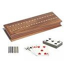 Solid Walnut Wood 3 Track Cribbage Board with 2 Decks of Cards, Metal Pegs & Storage by WE Games