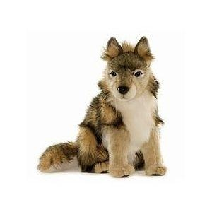 Hansa Wolf Cub Stuffed Plush Animal, Sitting